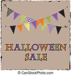 halloween, verkauf, schablone, mit, ammer, oder, banne