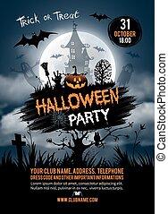 Halloween party - Halloween vertical background with pumpkin...