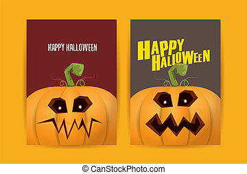 Halloween vertical cartoon posters set with Halloween scary pumpkins . Funky kids Halloween background with space for text
