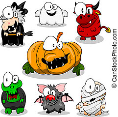 halloween, verzameling, schepsels