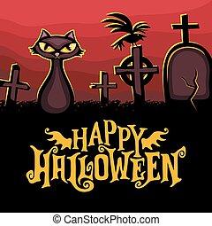 halloween, vettore, augurio, card., vacanza, series.