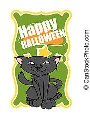 halloween, vettore, bandiera, gatto