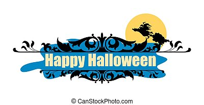 halloween, vettore, bandiera