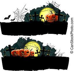 halloween, vettore, bandiera, set