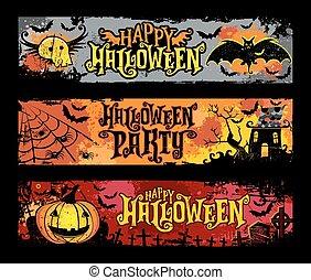 halloween, vettore, set, di, orizzontale, grunge, bandiere