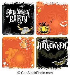 halloween, vettore, set, di, sfondi, con, iscrizione