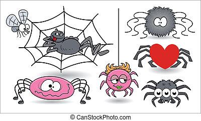 halloween, vettore, set, ragni