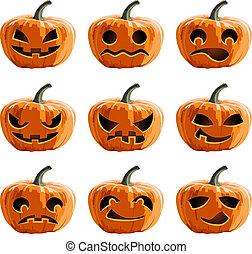 halloween, vettore, set, zucche