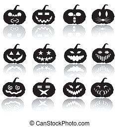 halloween, vettore, silhouette, zucca