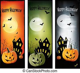 halloween, vettore, tre, bandiere