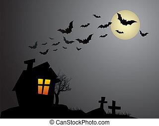halloween, vieux, hanté, terrifiant, maison