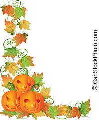 halloween, viti, zucche, illustrazione, bordo, intagliato