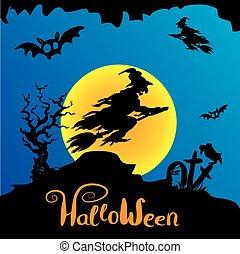 halloween, voler, sorcière, manche balai