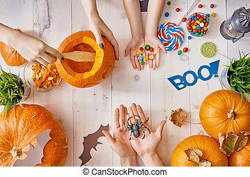 halloween., vorbereiten, familie