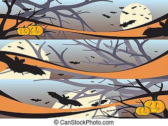 Halloween web banners - Halloween scenes web banners vector ...