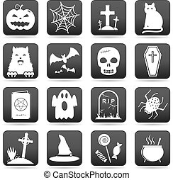 Halloween web buttons and icons for website