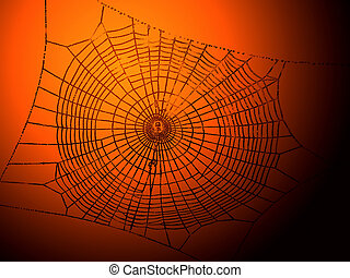 This is a high contrast image of a spider-web on a halloween style background.
