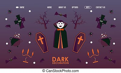 Halloween website design, vector illustration. Landing page template with traditional symbols of halloween vampire Dracula, coffin, spider, bat and dead tree