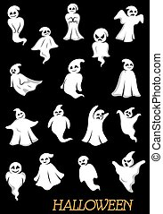 halloween, weißes, ghouls, geister