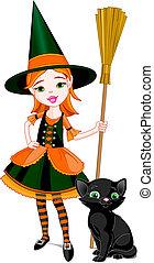 halloween, wenig, hexe