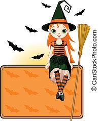 halloween, wenig, hexe, karte setzen