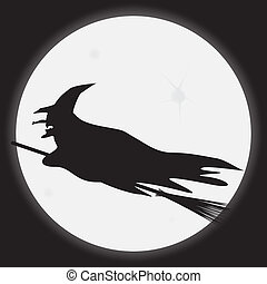 A silhouette of a witch riding a broomstick in front of the full moon