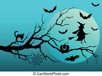 Halloween witch and bats, vector - Halloween night, flying...