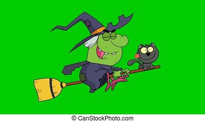 Halloween Witch And Cat Flying On A Broom Stick. 4K Animation Video Motion Graphics On Green Screen Background