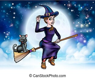Halloween Witch and Cat on Broomstick