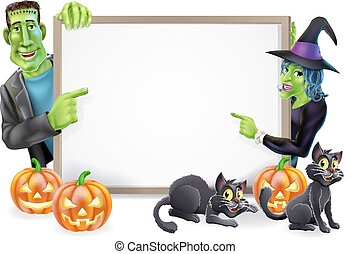 Halloween Witch and Frankenstein Banner - Halloween sign or...