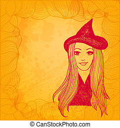 Halloween witch artistic vector background