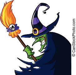 Halloween witch cartoon