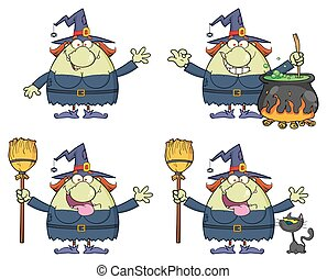 Halloween Witch Cartoon Mascot Character 2. Collection Set