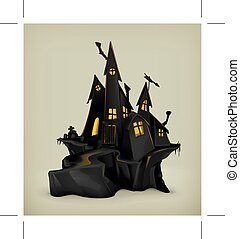 Halloween witch castle  - Halloween, witch castle silhouette