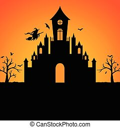 Halloween witch castle silhouette
