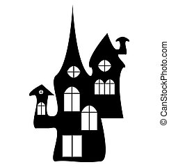 Halloween, witch castle silhouette, house icon