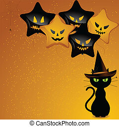 Halloween witch cat and balloons