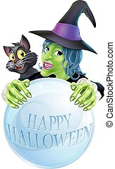 Halloween Witch cat and crystal ball - A cartoon Witch black...