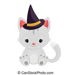 Halloween witch cat isolated on white background