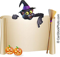 Halloween witch cat scroll - A Halloween scroll sign with a...