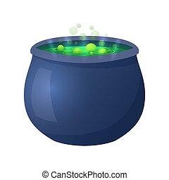 Halloween witch cauldron illustration