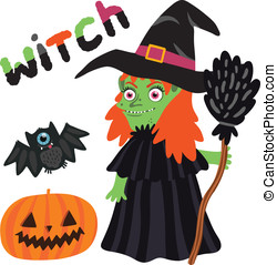 Halloween witch character with pumpkin and bat.