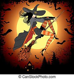 halloween witch on full moon