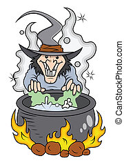 Drawing Art of cartoon witch cooking - Halloween vector illustration