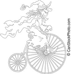 A sorceress riding an antique bicycle