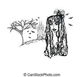 Halloween witch - doodle vector grunge portrait