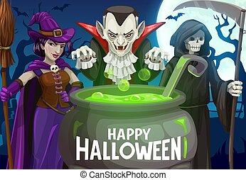 Halloween witch, dracula vampire, death skeleton