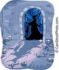 Halloween Witch Evil Dungeon Skeletons - Halloween...