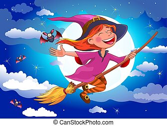 Halloween witch flies on a broomstick