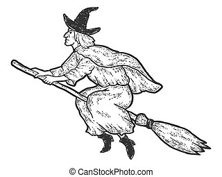 Halloween, witch flies on broomstick. Sketch scratch board imitation. Black and white. Engraving vector illustration.